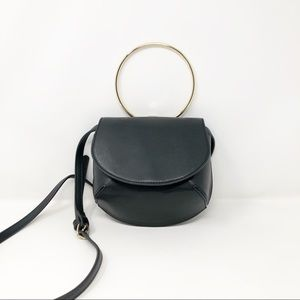 ASOS Black Leather Box Clutch Crossbody Gold Ring
